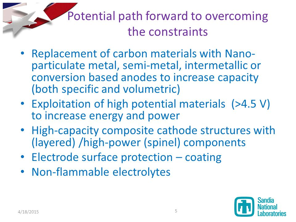 Potential path forward to overcoming the constraints