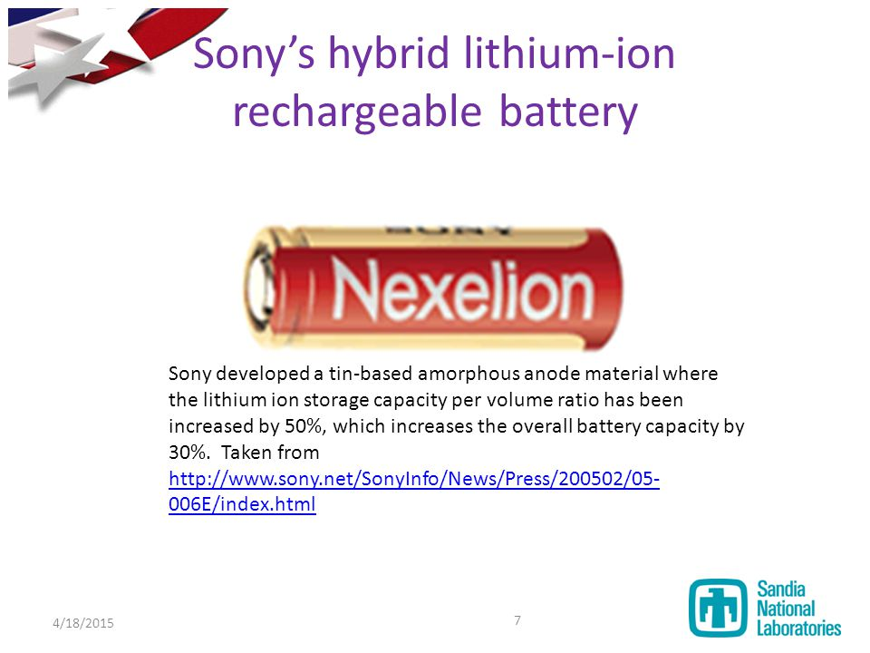 Sony's hybrid lithium-ion rechargeable battery