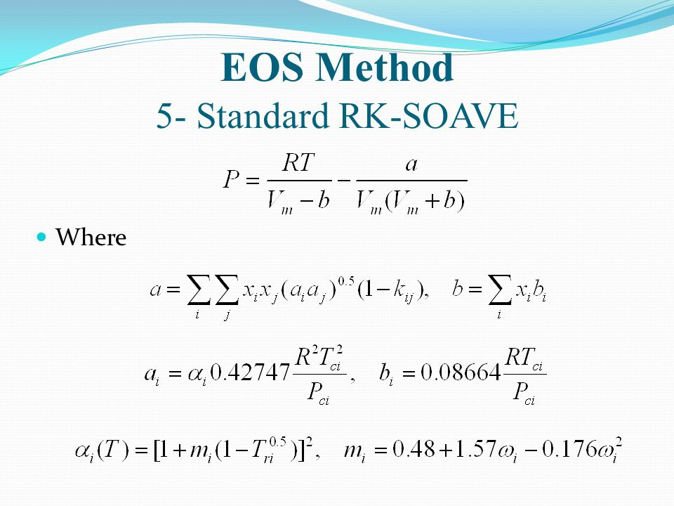 EOS Method 5- Standard RK-SOAVE