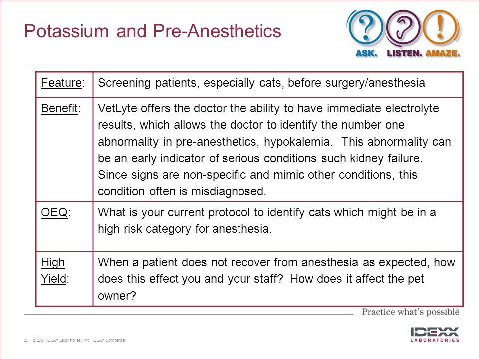 Potassium and Pre-Anesthetics
