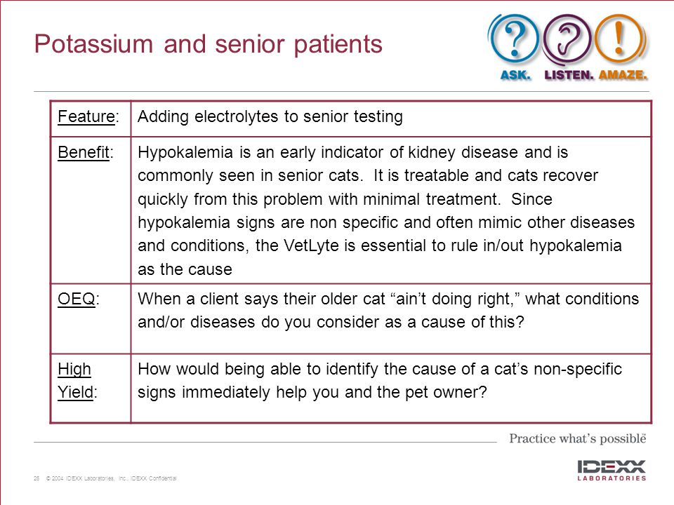 Potassium and senior patients