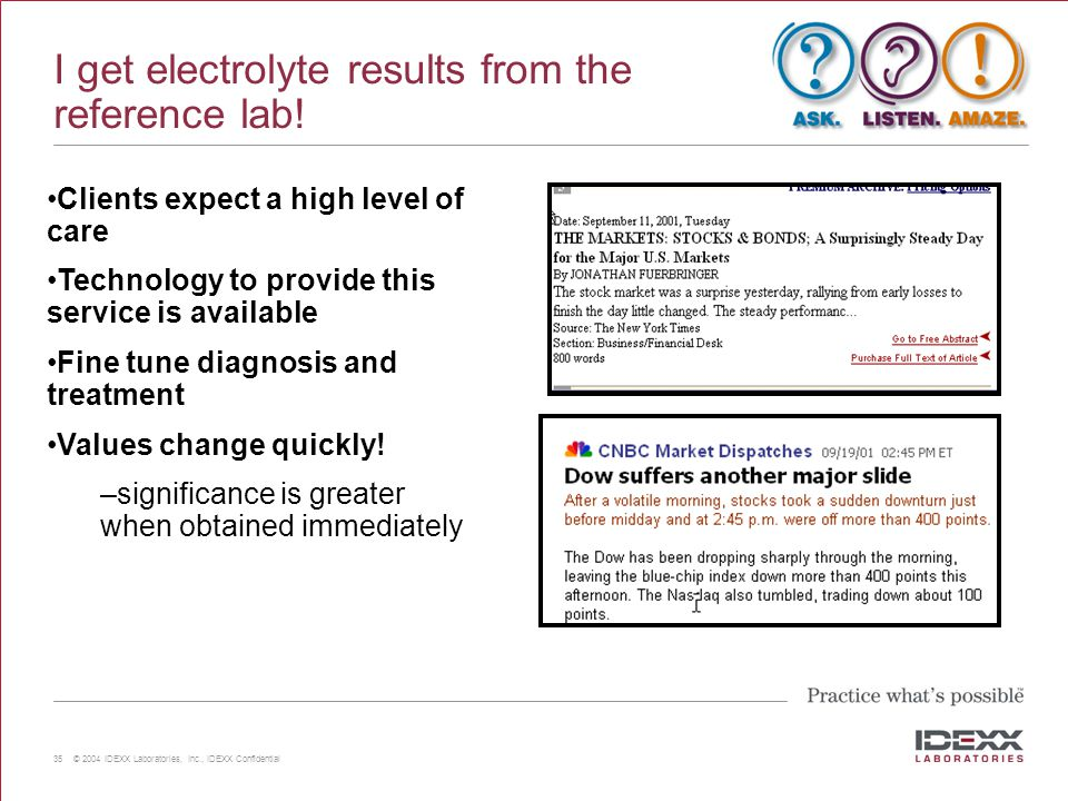 I get electrolyte results from the reference lab!
