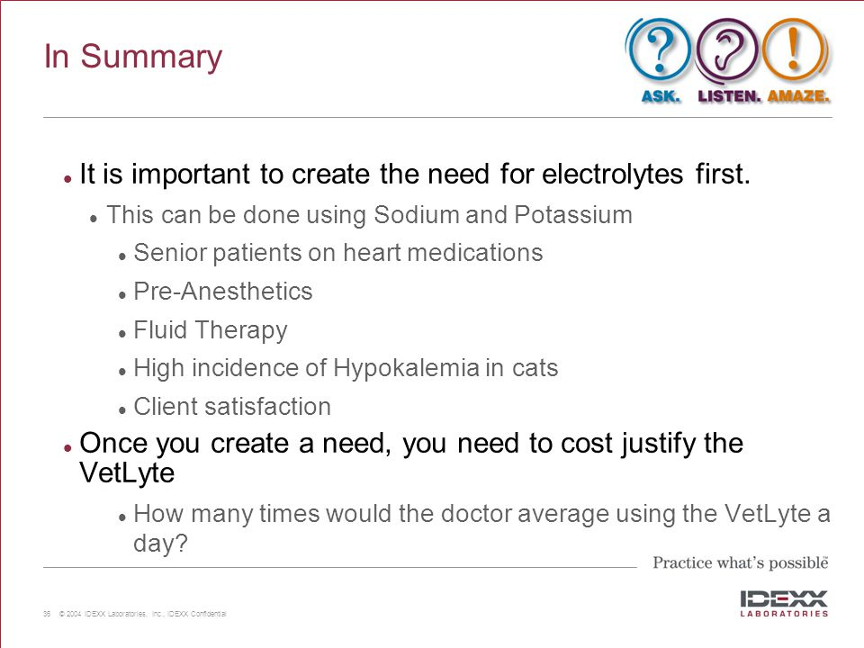 In Summary It is important to create the need for electrolytes first.