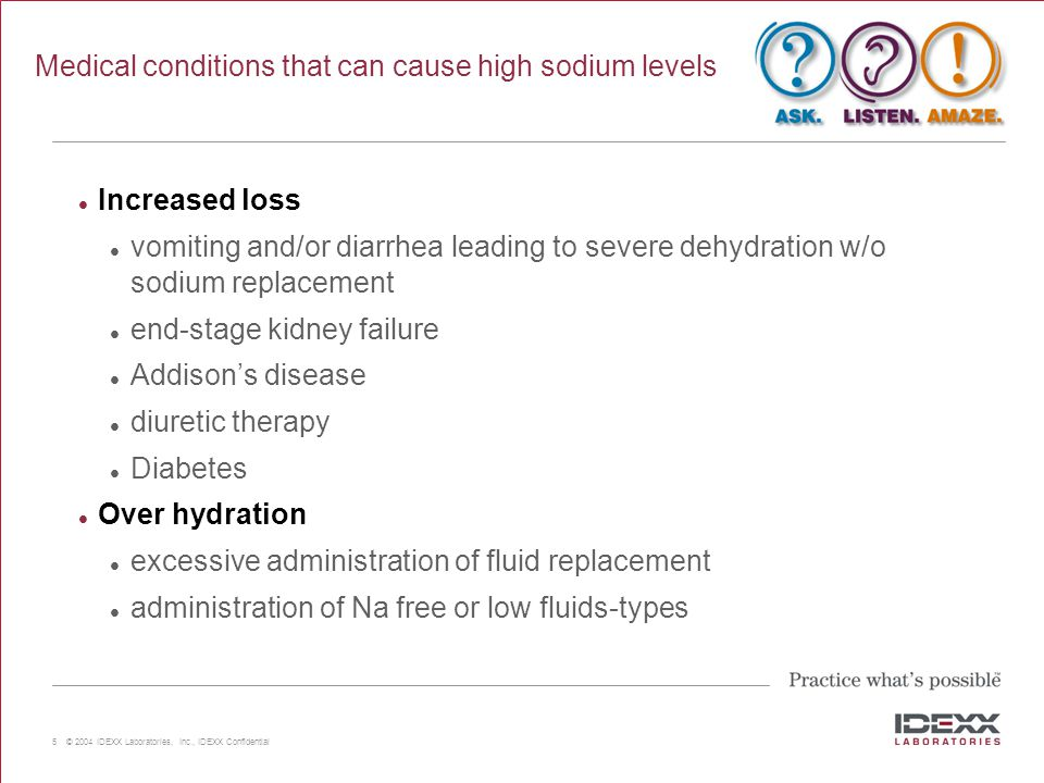 Medical conditions that can cause high sodium levels