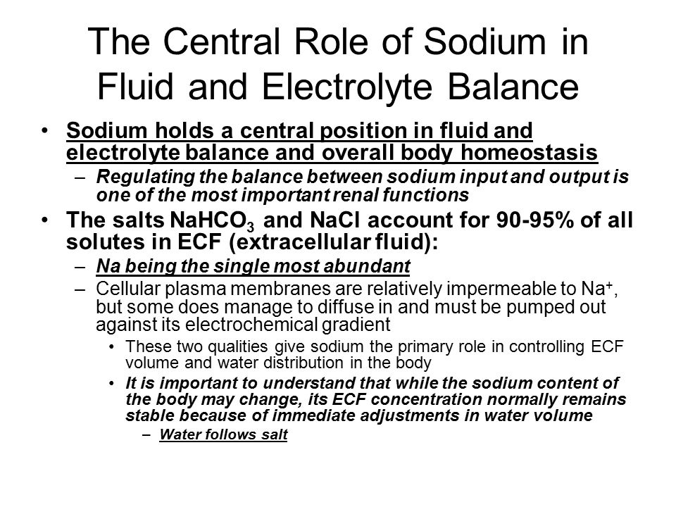 The Central Role of Sodium in Fluid and Electrolyte Balance