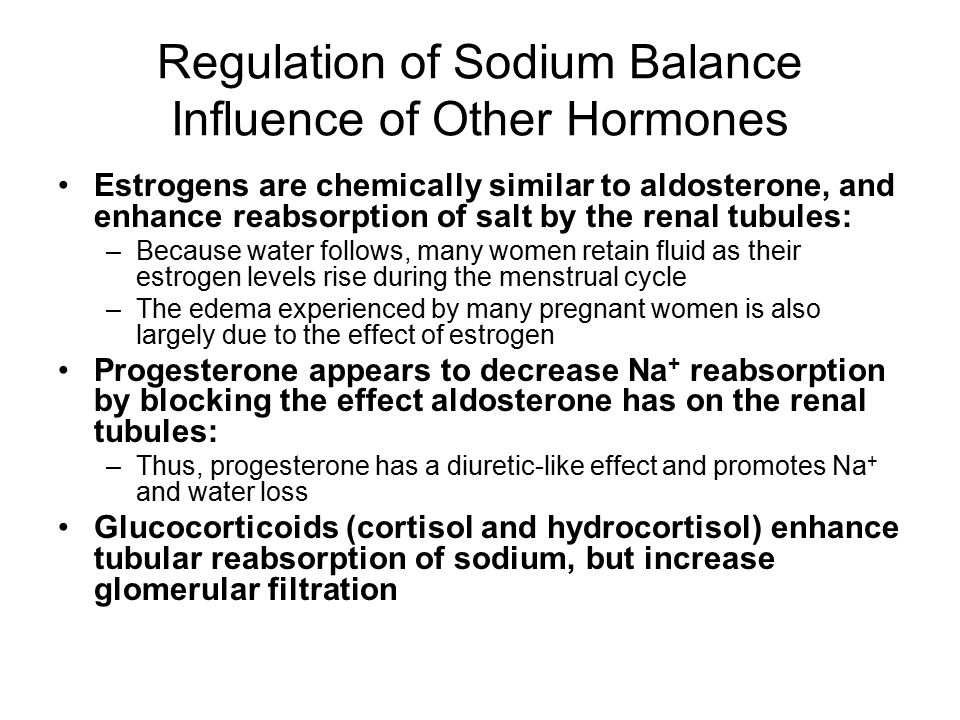 Regulation of Sodium Balance Influence of Other Hormones