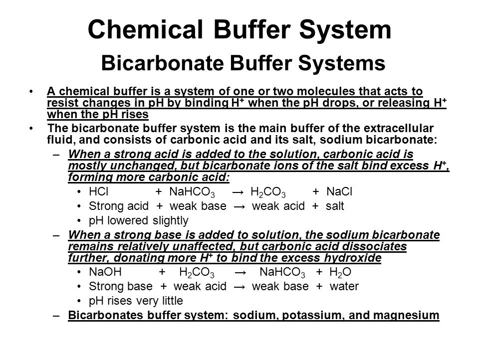 Chemical Buffer System Bicarbonate Buffer Systems
