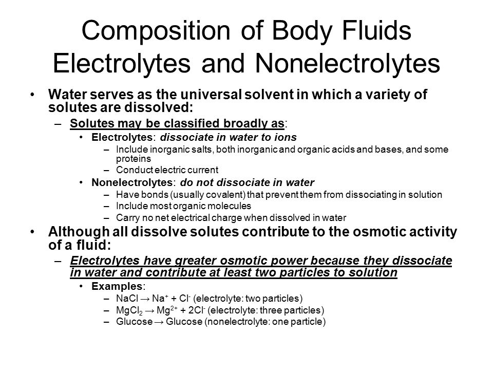 Composition of Body Fluids Electrolytes and Nonelectrolytes