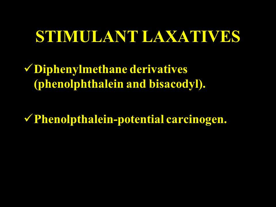STIMULANT LAXATIVES Diphenylmethane derivatives (phenolphthalein and bisacodyl).