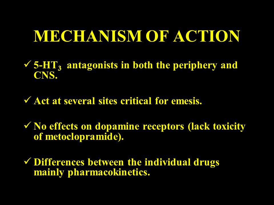 MECHANISM OF ACTION 5-HT3 antagonists in both the periphery and CNS.