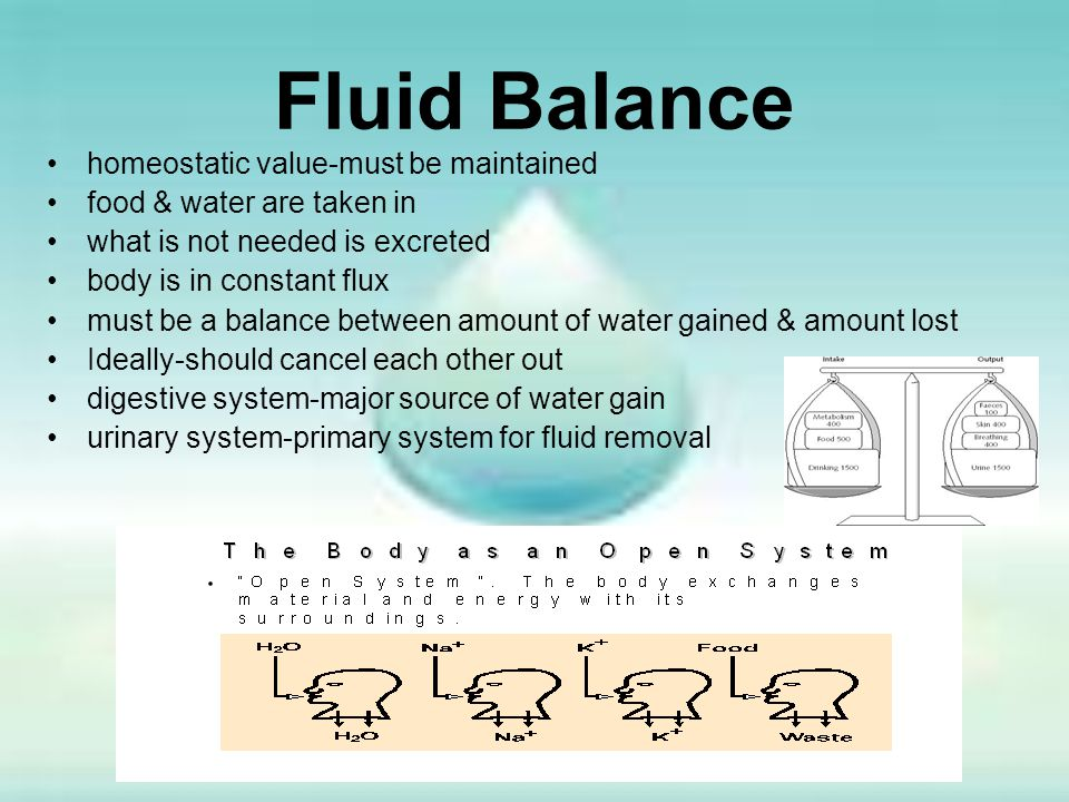 Fluid Balance homeostatic value-must be maintained