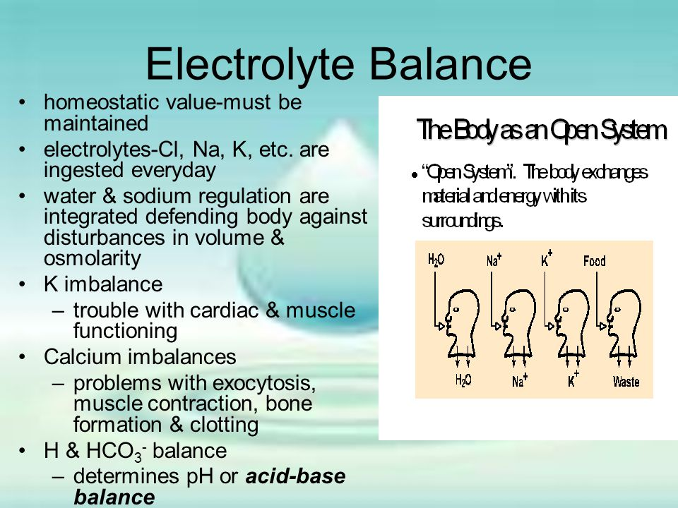 Electrolyte Balance homeostatic value-must be maintained