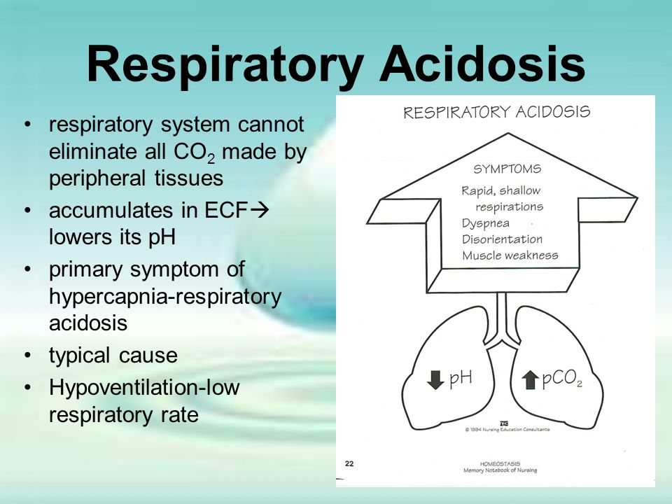 Respiratory Acidosis respiratory system cannot eliminate all CO2 made by peripheral tissues. accumulates in ECF lowers its pH.