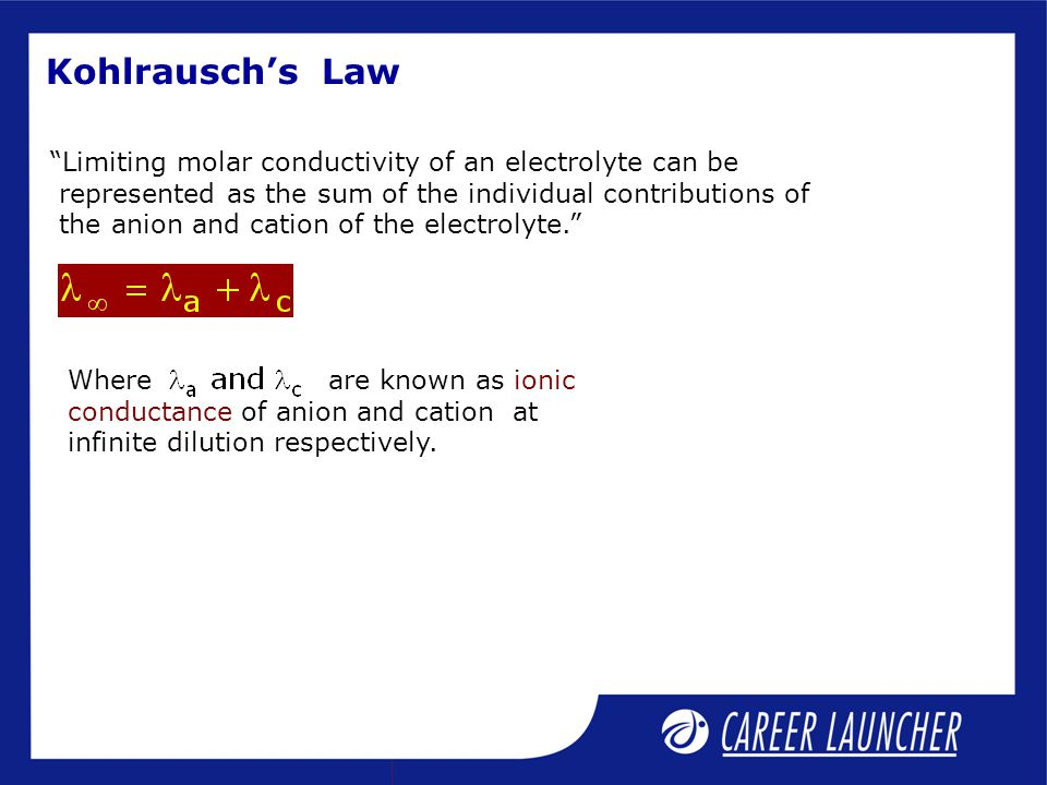 Kohlrausch's Law Limiting molar conductivity of an electrolyte can be