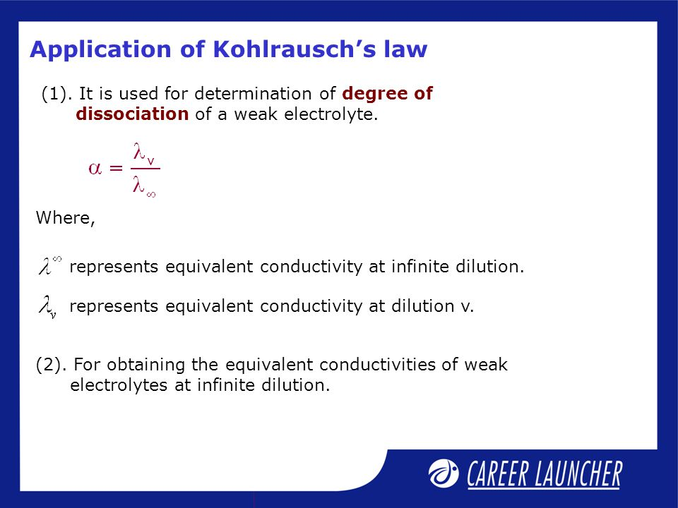 Application of Kohlrausch's law