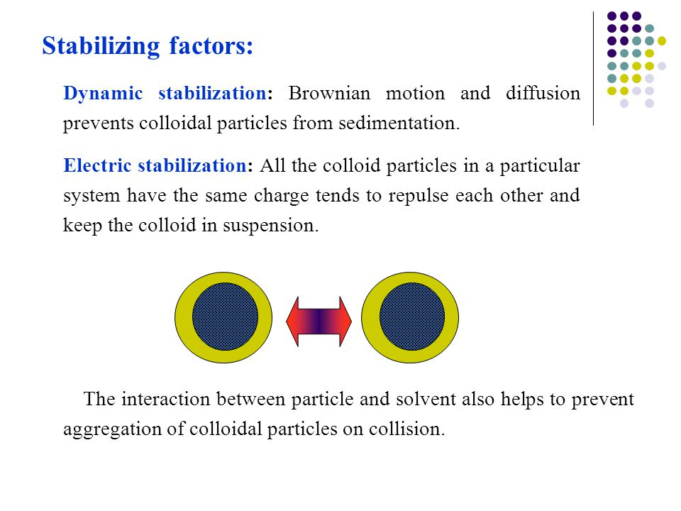 Stabilizing factors: Dynamic stabilization: Brownian motion and diffusion prevents colloidal particles from sedimentation.