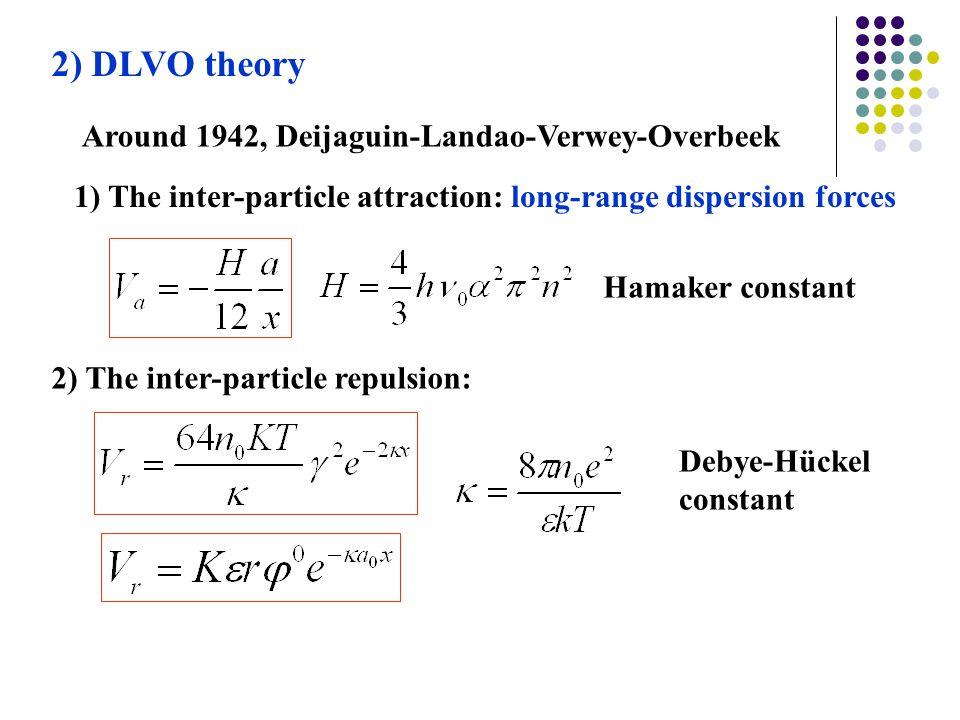 2) DLVO theory Around 1942, Deijaguin-Landao-Verwey-Overbeek
