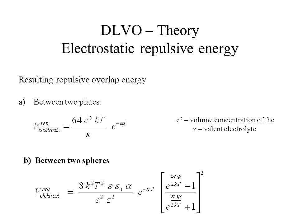 DLVO – Theory Electrostatic repulsive energy