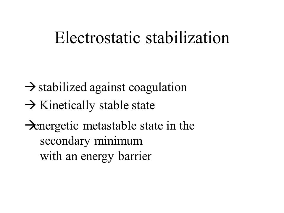 Electrostatic stabilization