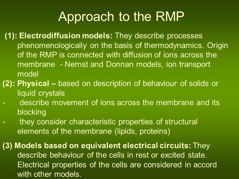 Approach to the RMP