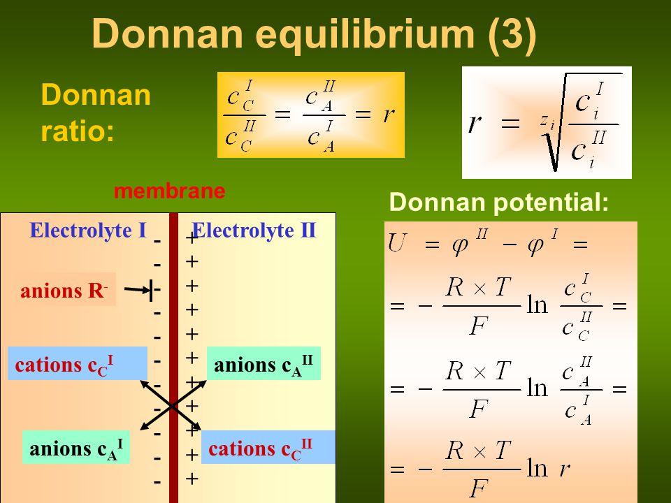 Donnan equilibrium (3) Donnan ratio: Donnan potential: membrane