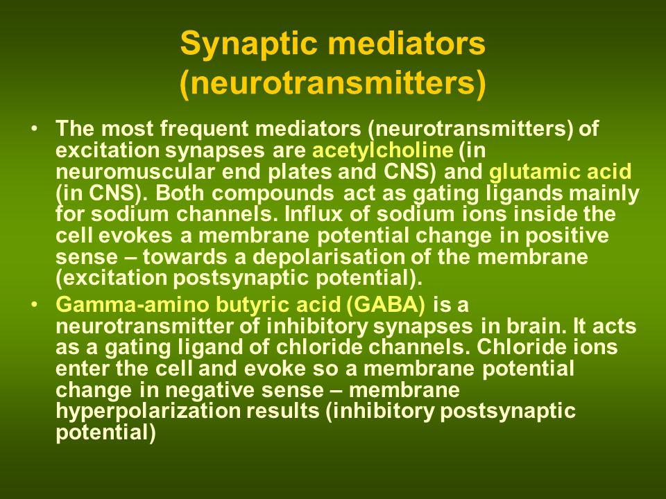 Synaptic mediators (neurotransmitters)