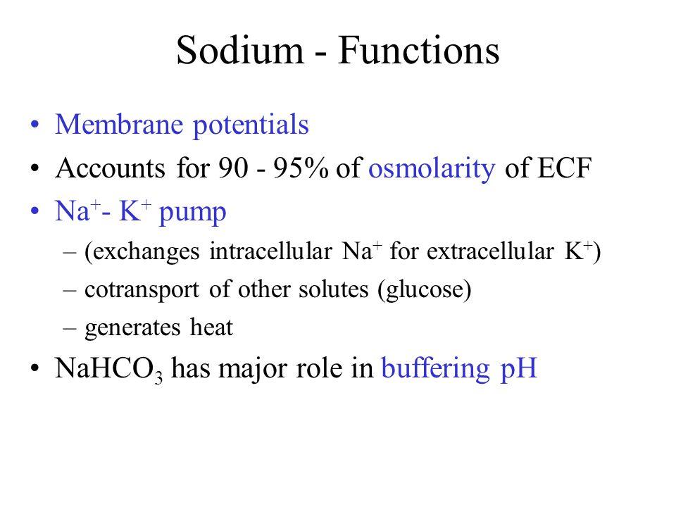 Sodium - Functions Membrane potentials