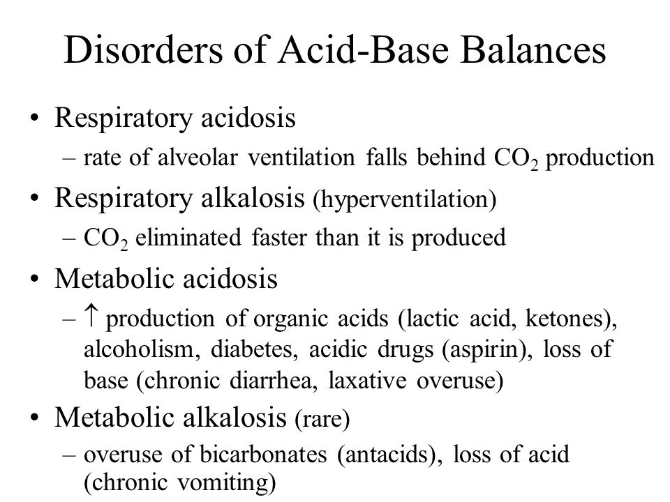 Disorders of Acid-Base Balances