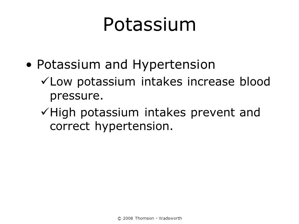 Potassium Potassium and Hypertension