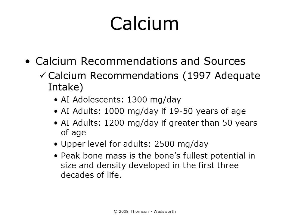 Calcium Calcium Recommendations and Sources