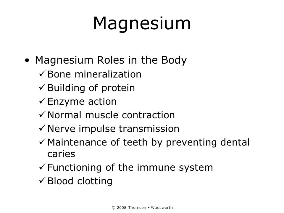 Magnesium Magnesium Roles in the Body Bone mineralization