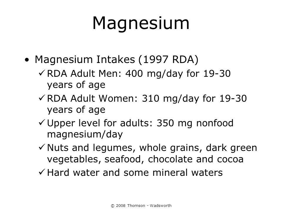 Magnesium Magnesium Intakes (1997 RDA)