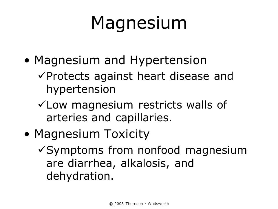 Magnesium Magnesium and Hypertension Magnesium Toxicity
