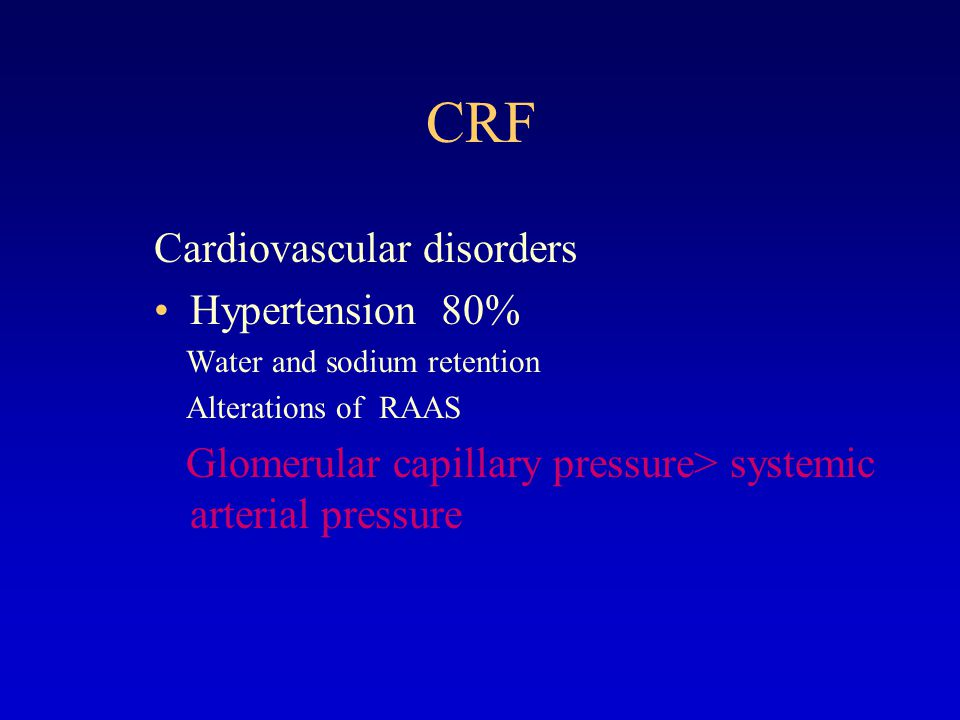 CRF Cardiovascular disorders Hypertension 80%