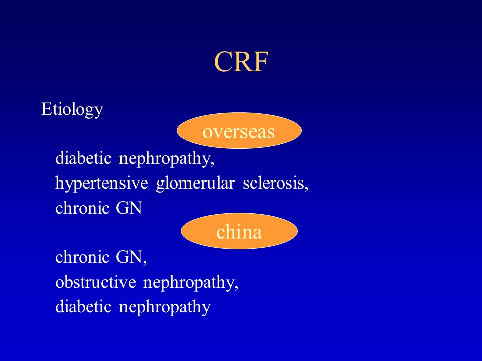 CRF overseas china Etiology diabetic nephropathy,