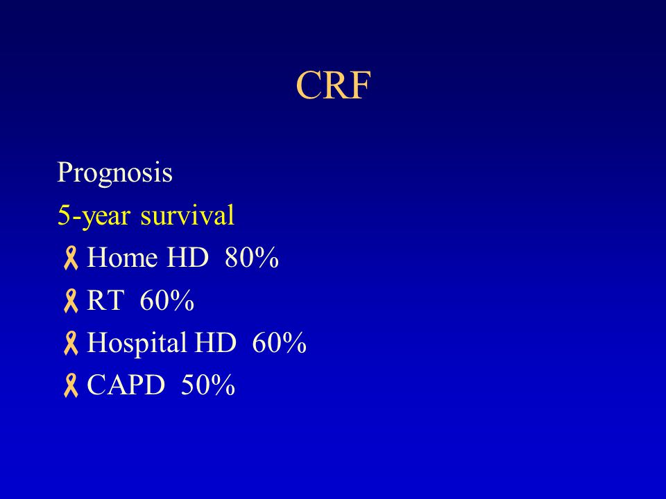 CRF Prognosis 5-year survival Home HD 80% RT 60% Hospital HD 60%