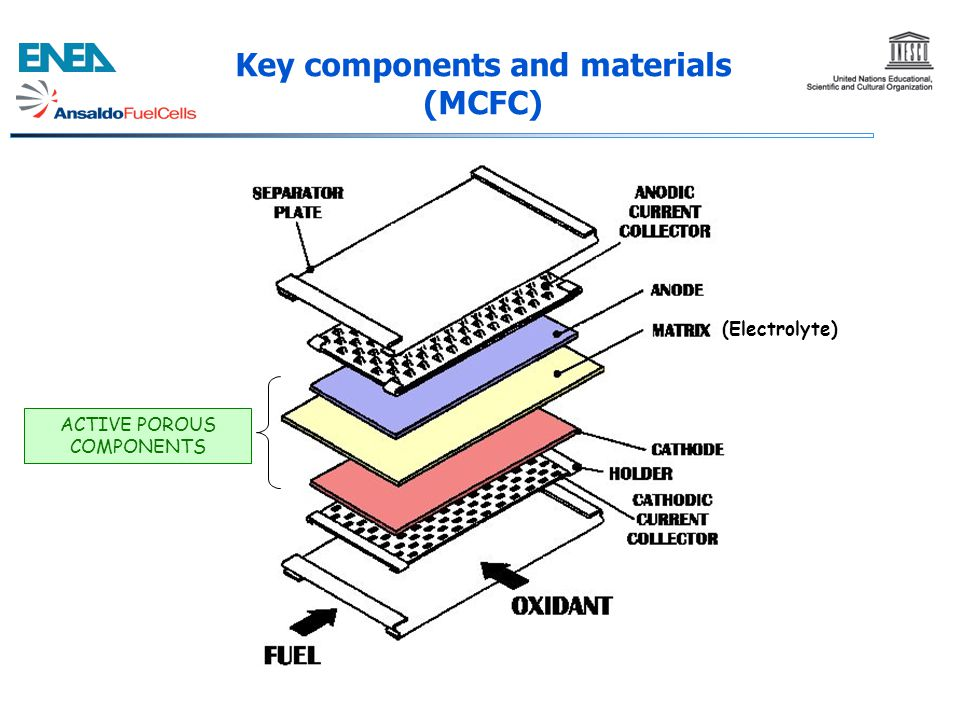 Key components and materials (MCFC)
