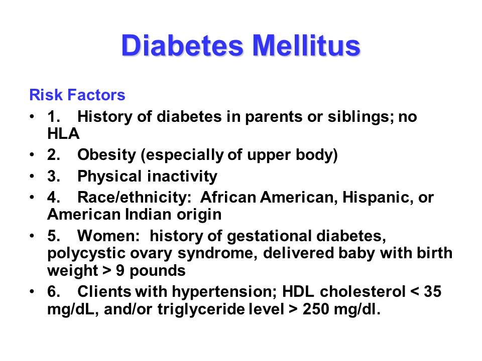 Diabetes Mellitus Risk Factors