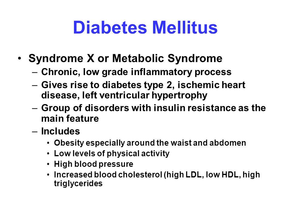 Diabetes Mellitus Syndrome X or Metabolic Syndrome