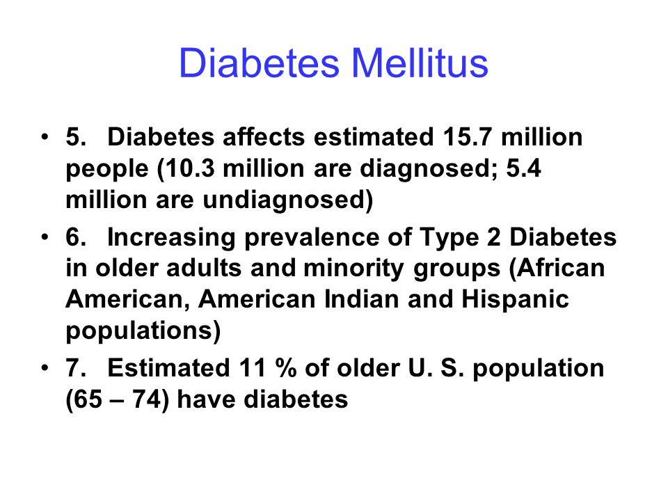 Diabetes Mellitus 5. Diabetes affects estimated 15.7 million people (10.3 million are diagnosed; 5.4 million are undiagnosed)