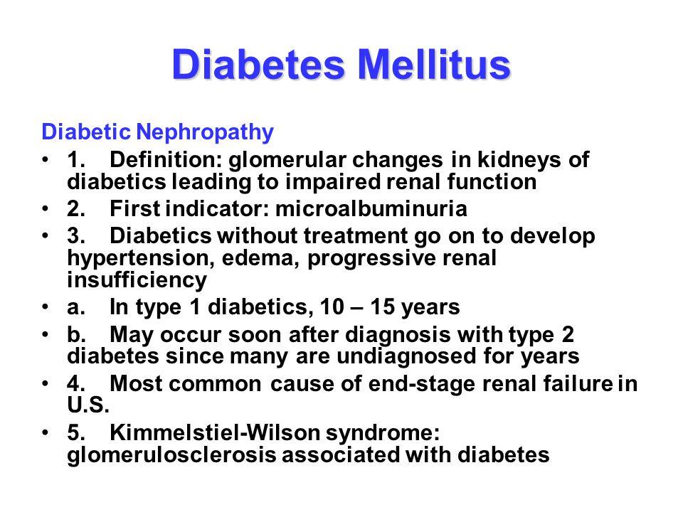 Diabetes Mellitus Diabetic Nephropathy