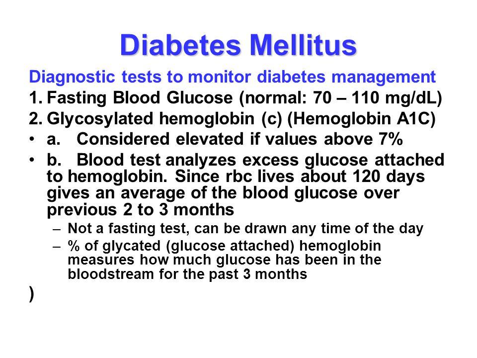 Diabetes Mellitus Diagnostic tests to monitor diabetes management