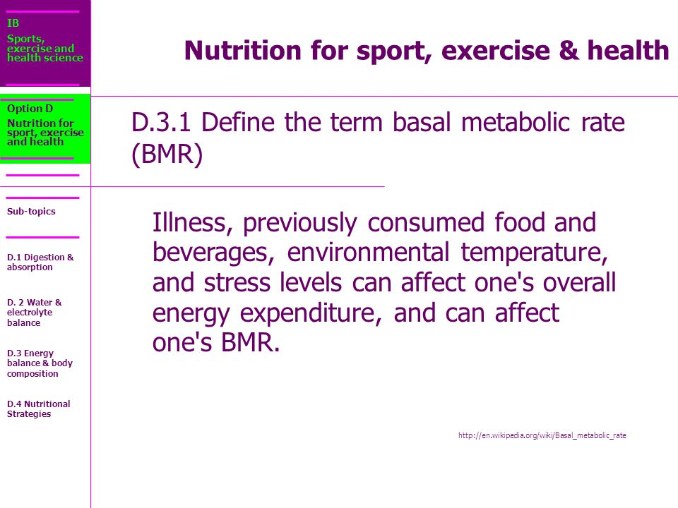 Nutrition for sport, exercise & health