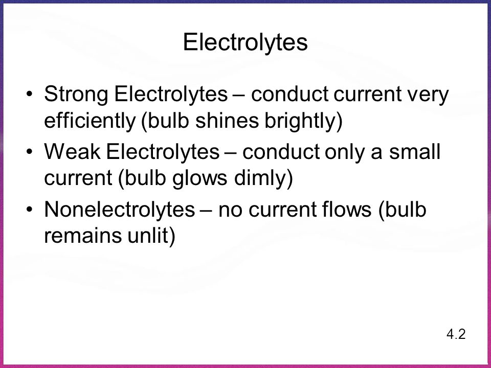 Electrolytes Strong Electrolytes – conduct current very efficiently (bulb shines brightly)