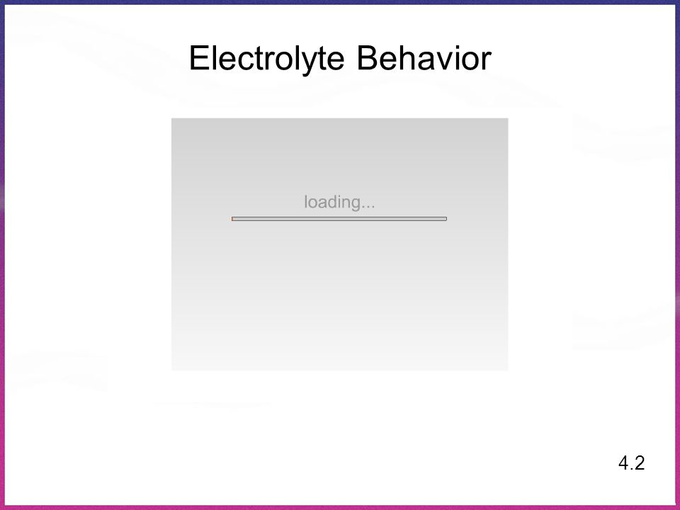 Electrolyte Behavior 4.2