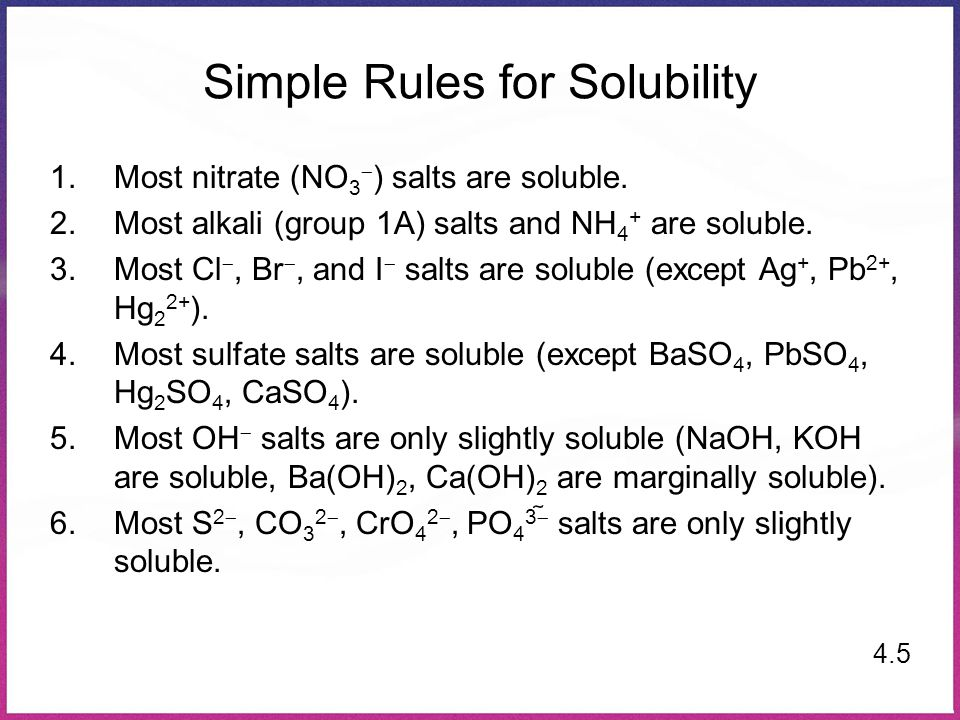 Simple Rules for Solubility