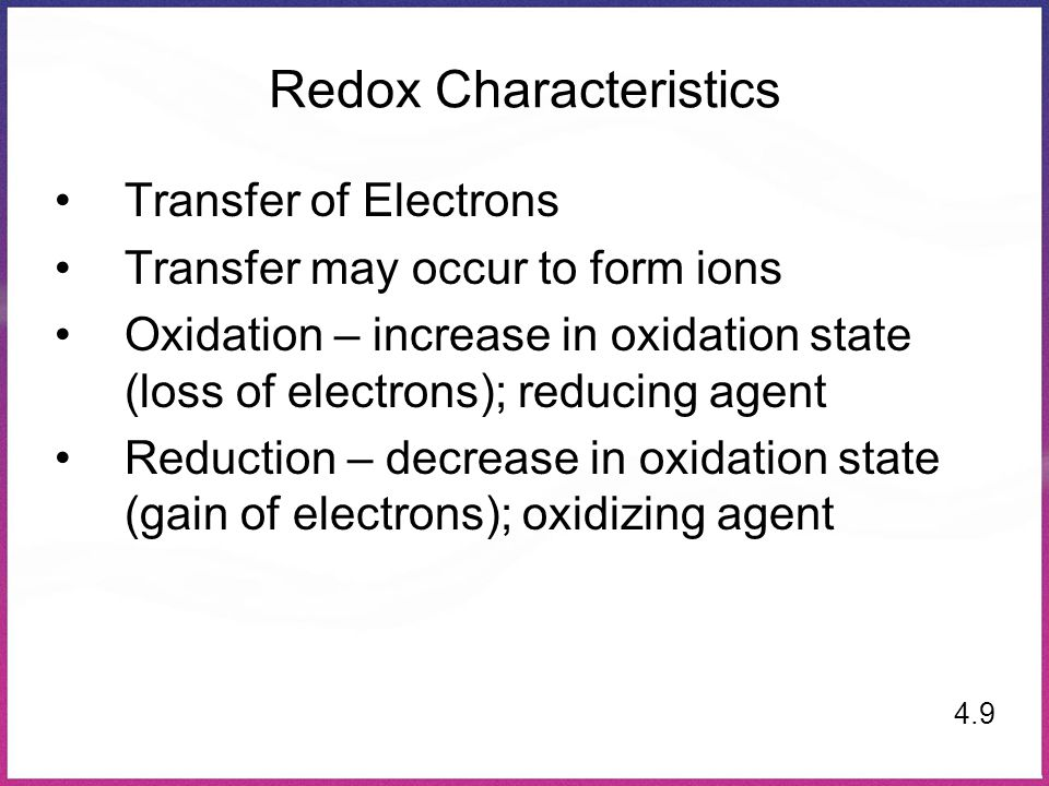 Redox Characteristics