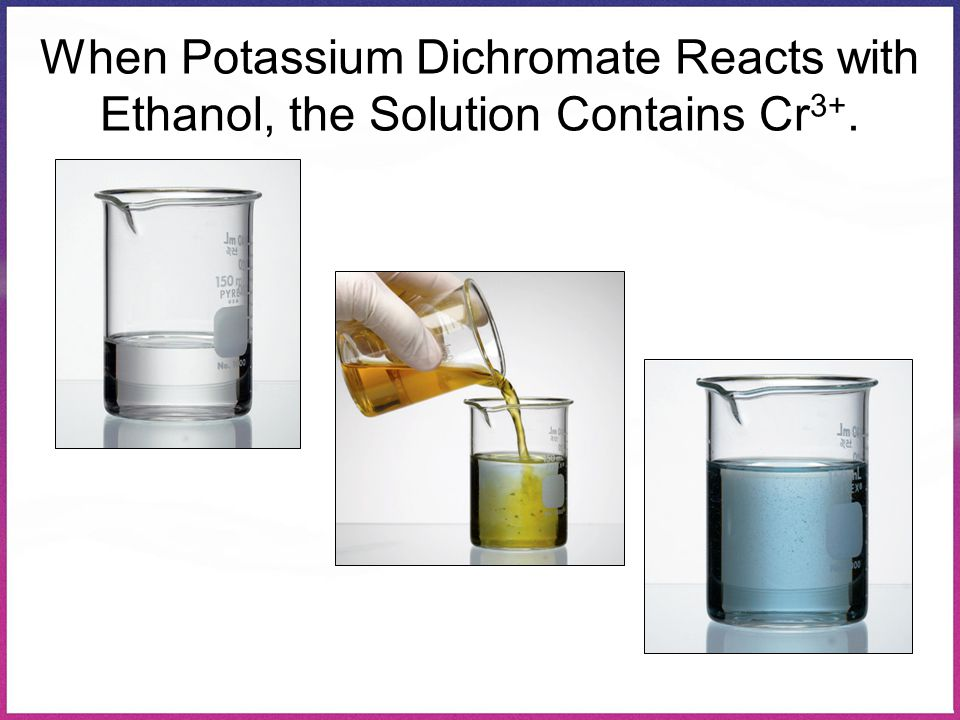 When Potassium Dichromate Reacts with Ethanol, the Solution Contains Cr3+.