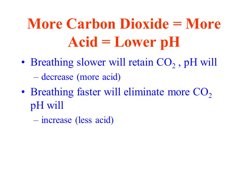 More Carbon Dioxide = More Acid = Lower pH