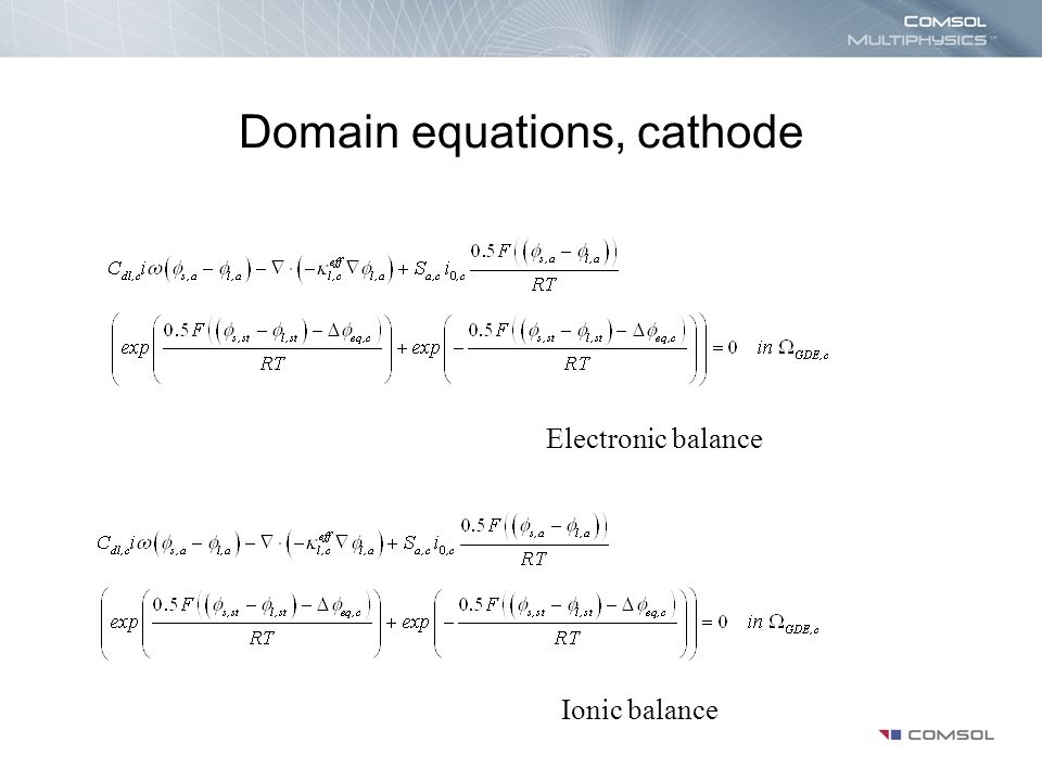 Domain equations, cathode
